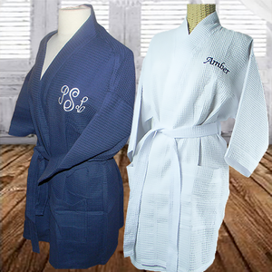 MONOGRAMMED KNEE LENGTH WAFFLE ROBES